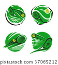 Tennis sport symbol with ball, racket and net 37065212