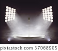 Vector realistic stage with microphone and smoke 37068905