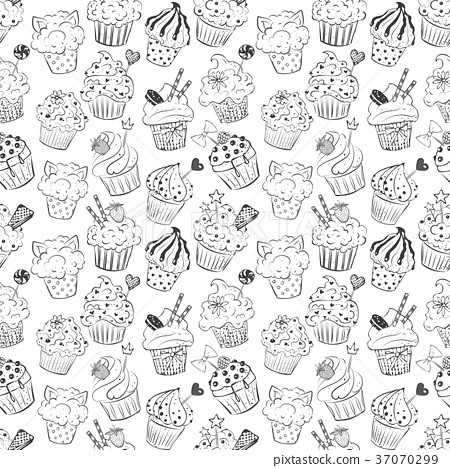 Seamless background with doodle sketch cupcakes on 37070299
