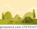 Landscape.Hiking and camping. Vector flat  37070347