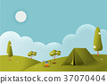Landscape.Hiking and camping. Vector flat 37070404