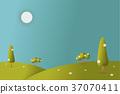 Meadow landscape vector illustration. 37070411