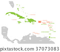 Political map of Carribean. Green highlighted 37073083
