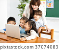 children looking at the laptop with teacher  37074083
