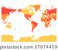 World map in four shades of red on white 37074459