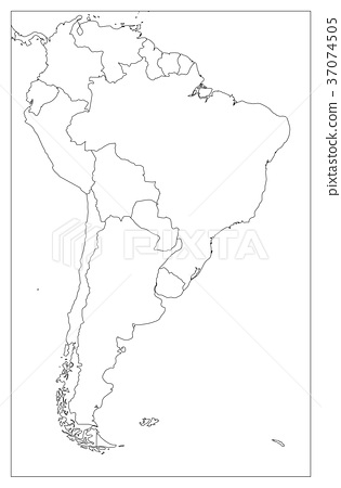 Blank political map of South America. Simple flat - Stock ...