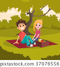 picnic, blanket, young 37076556