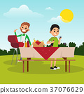Cartoon father and son preparing for barbecue 37076629