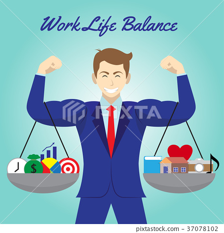 Work Life Balance Icons Hang On Businessman Arms 37078102