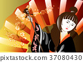 Portrait of a woman in a kimono against the 37080430