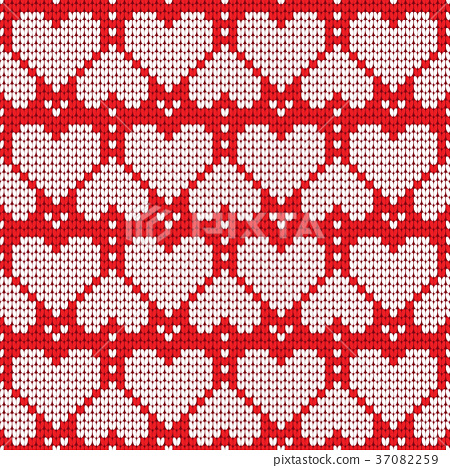 Valentines Day Love Heart Knitted Seamless Pattern Stock
