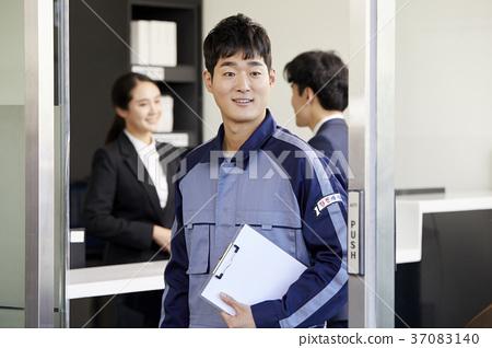 작업인,비즈니스우먼,고객,상담,한국인 37083140