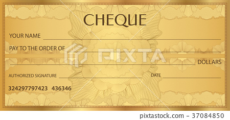 Check (cheque), Chequebook template. Guilloche 37084850