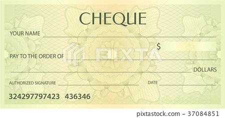 Check (cheque), Chequebook template. Guilloche 37084851