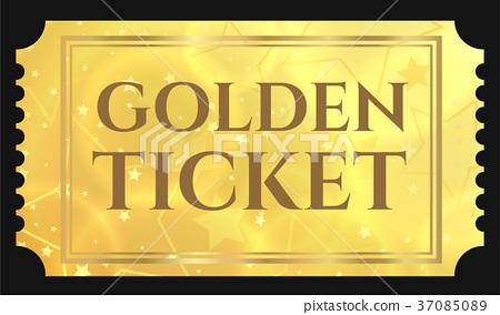 gold ticket golden token tear off ticket coupon stock