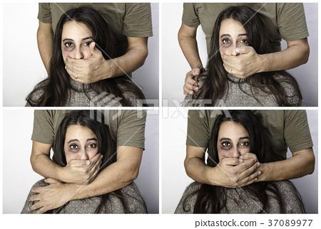 Violent man silencing a woman 37089977