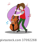 Young boy playing double bass Happy Love music 37092268
