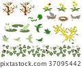 봄의 소재. 개구리와 작은 새 디자인 소재. 봄의 이미지. 37095442