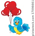 Bird with heart shaped balloons theme 1 37096661