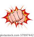 Power Fist On Blasting Background 37097442