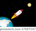 Rocket go to the moon from earth, vector 37097597