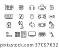 Set of Computers and Accessories in linear style 37097632