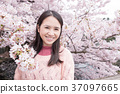 woman with Cherry blossoms 37097665