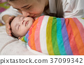 Portrait of asian mother kissing infant.Family 37099342
