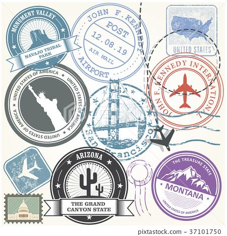 United states travel stamps set - USA journey  37101750