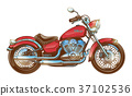 Hand-drawn red vintage motorcycle. Classic chopper 37102536