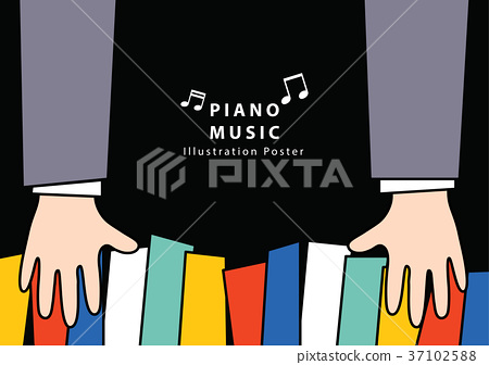 Piano music Poster A4 illustration vector. 37102588