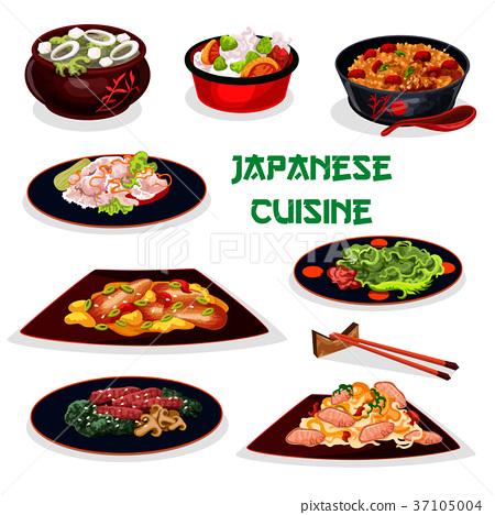Japanese cuisine traditional dinner cartoon icon 37105004