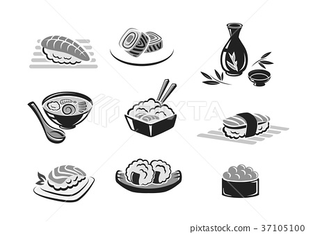 Vector icons set of sushi or seafood rolls 37105100