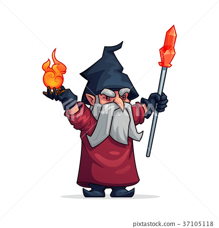 Vector cartoon evil wizard or bad magician icon 37105118