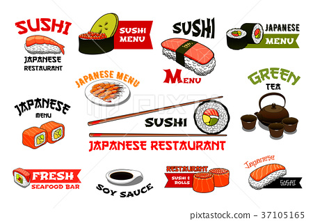 Japanese restaurant sushi menu vector icons 37105165