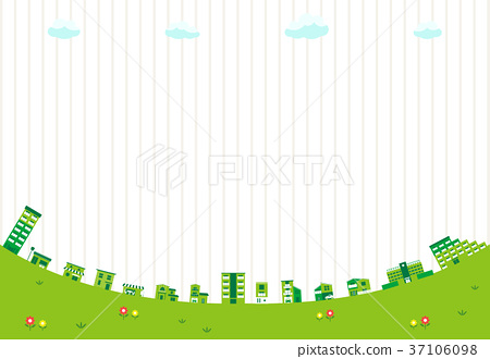 Green cityscape stripes background 37106098