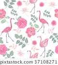seamless  pattern with flowers and flamingos 37108271