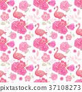 seamless  pattern with flowers and flamingo 37108273