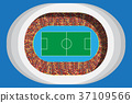 soccer or football stadium with full attendance 37109566