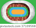 athletics stadium with full attendance in top view 37109568