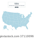 USA Map Mono Color High Detail Separated all state 37110096