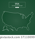 USA Map Outline Border on green background 37110099