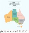Australia Map Full Color High Detail Separated all 37110361