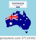 Australia Flag Map Vector Illustration 37110362