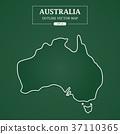 Australia Map Outline Border on green background 37110365