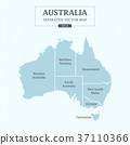 Australia Map Mono Color High Detail Separated all 37110366