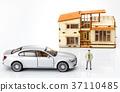자동차,비즈니스맨,주택,모형 37110485