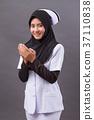 asian muslim nurse praying, prayer hand gesture 37110838