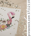 Exotic flowers and flamingo painted with 37112110