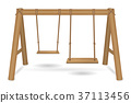 wooden swing vector on a white background 37113456